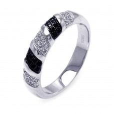 Sterling Silver Rhodium and Black Rhodium Plated Black and Clear Micro Pave CZ Stripe Ring - ACR00055