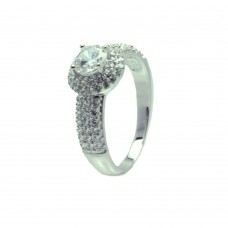 Wholesale Sterling Silver 925 Rhodium Plated Clear Micro Pave Set CZ Round Bridal Ring - BGR00719