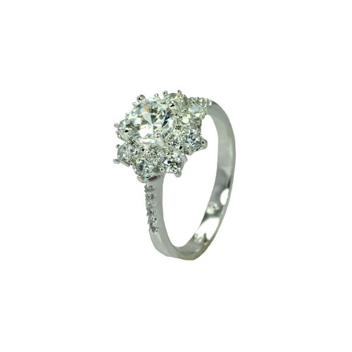 Wholesale Sterling Silver 925 Rhodium Plated Clear Round Center Micro Pave Set CZ Flower Bridal Ring - BGR00732