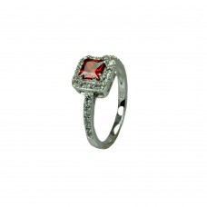 Sterling Silver Rhodium Plated Clear Micro Pave Set Red Square Center CZ Bridal Ring bgr00733