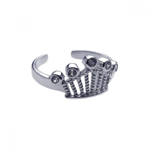 Wholesale Sterling Silver 925 Rhodium Plated Clear CZ Crown Toe Ring - CZTR01