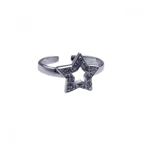 Wholesale Sterling Silver 925 Rhodium Plated Clear CZ Star Toe Ring - CZTR11