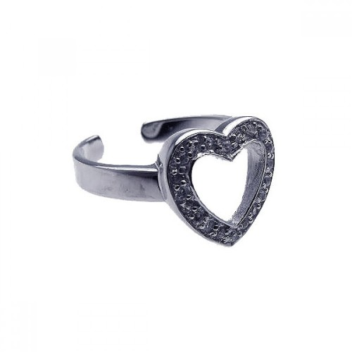 Wholesale Sterling Silver 925 Rhodium Plated Clear CZ Open Heart Toe Ring - CZTR2