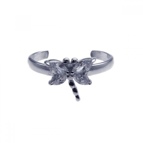 Wholesale Sterling Silver 925 Rhodium Plated Clear CZ Dragonfly Toe Ring - CZTR3