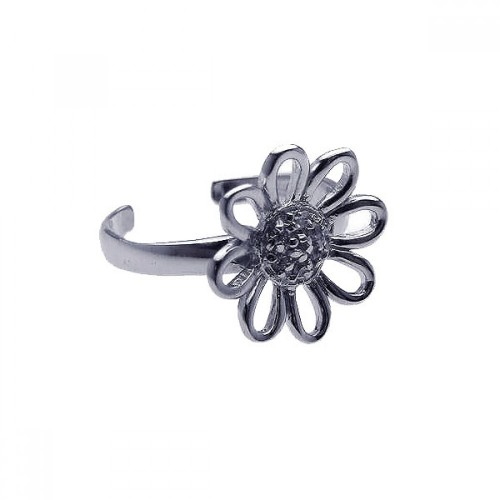 Wholesale Sterling Silver 925 Rhodium Plated Clear CZ Daisy Flower Toe Ring - CZTR6