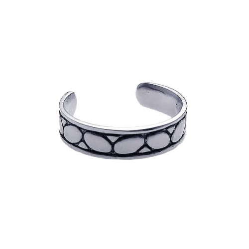 Wholesale Sterling Silver 925 Rhodium Plated Rock Toe Ring - CZTR7