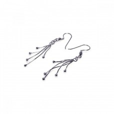 Sterling Silver Rhodium Plated Five Dangling Strand Hook Earring dse00009