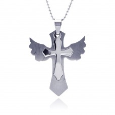 Wholesale Stainless Steel Wing Cross Charm Pendant - SSP00033