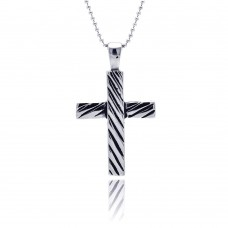 Wholesale Stainless Steel Stripe Cross Charm Pendant - SSP00041