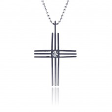 Stainless Steel 3 Row Cross Clear Crystal Center Charm Pendant ssp00052