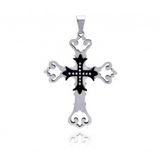 Stainless Steel Black Center Double Cross Clear Crystal Charm Pendant ssp00103