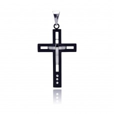 Stainless Steel Black Rhodium Plated Double Cross Charm Pendant ssp00110