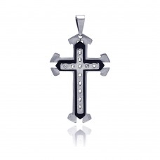 Stainless Steel Black Rhodium Plated Center Cross Clear Crystal Charm Pendant ssp00116