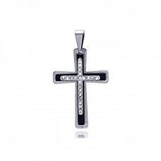 Wholesale Stainless Steel Two Tone Cross Clear Crystal Charm Pendant - SSP00120