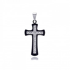 Wholesale Stainless Steel Two Tone Cross Clear CZ Charm Pendant - SSP00125