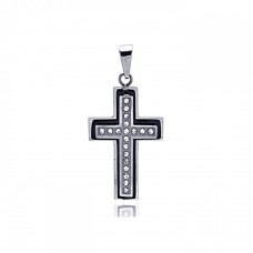 Stainless Steel Black Rhodium Plated Cross Clear Crystal Charm Pendant ssp00126