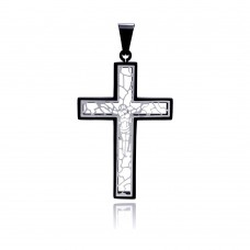 Stainless Steel Black Rhodium Plated Cross Jesus Outline Charm Pendant ssp00138