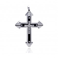 Stainless Steel Black Rhodium Plated Cross Clear Crystal Charm Pendant ssp00145