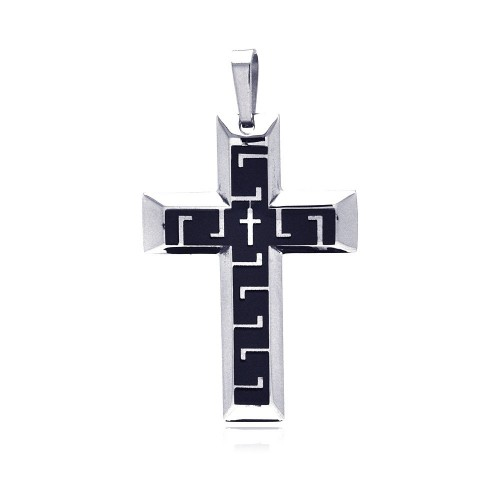 Wholesale Stainless Steel Two Tone Double Cross Charm Pendant - SSP00149