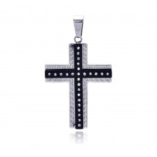 Stainless Steel Black Rhodium Plated Center Cross Celtic Border Clear Crystal Charm Pendant ssp00151
