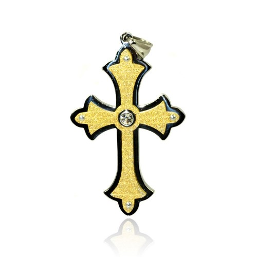 Wholesale Stainless Steel Gold Plated Cross Clear Crystal Charm Pendant - SSP00428