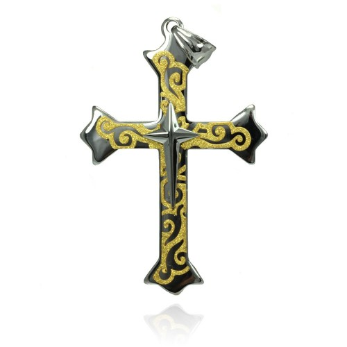 Wholesale Stainless Steel Gold Plated Swirl Cross Charm Pendant - SSP00434