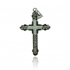 Wholesale Stainless Steel Sparkle Inset Cross Charm Pendant - SSP00435