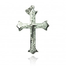 Wholesale Stainless Steel Sparkle Inset Cross Charm Pendant - SSP00440