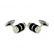 Stainless Steel lack RubberCufflinks scu00007