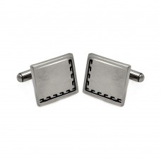 Wholesale Stainless Steel 925 Black Border Design Cufflinks - SCU00008