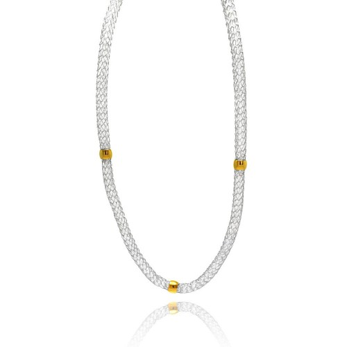 Wholesale Stainless Steel Gold Plated Beads Clear CZ Net Necklace - SSC00020