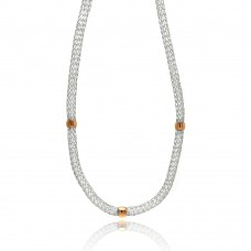 Wholesale Stainless Steel Rose Gold Beads Clear CZ Net Necklace - SSC00021