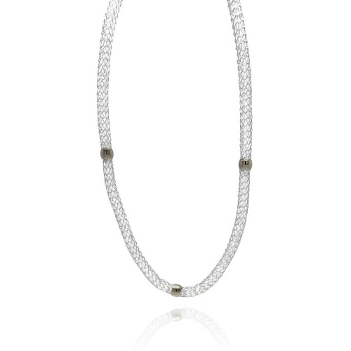 Wholesale Stainless Steel Beads Clear CZ Net Necklace - SSC00022