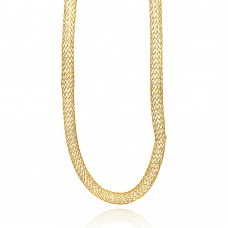 Wholesale Stainless Steel Gold Plated Clear CZ Net Necklace - SSC00024