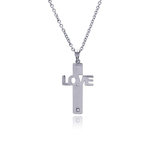 Wholesale Stainless Steel Large Love CZ Necklace - SSN00021