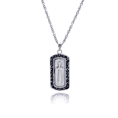 Wholesale Stainless Steel Cross Dogtag Necklace - SSN00028