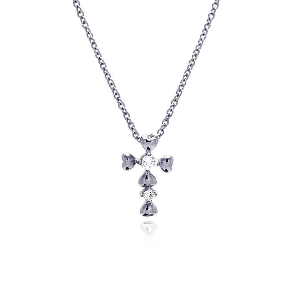 Wholesale Stainless Steel Four Crystal Heart Cross Necklace - SSN00029