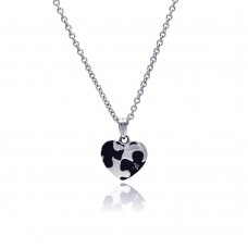 Wholesale Stainless Steel Puzzle Design Heart CZ Necklace - SSN00030