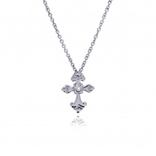 Wholesale Stainless Steel Crystal Center Cross Necklace - SSN00032