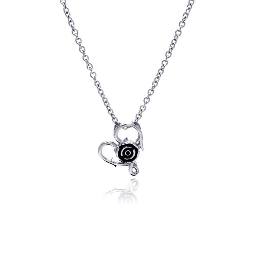 Wholesale Stainless Steel Open Heart Center Rose Necklace - SSN00035
