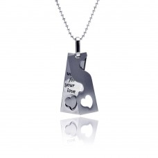 Wholesale Stainless Steel Secret Passage Heart Dog Tag Charm Pendant - SSP00057