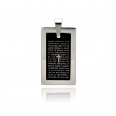 Stainless Steel Black Rhodium Plated Prayer Dog Tag Pendant ssp00259
