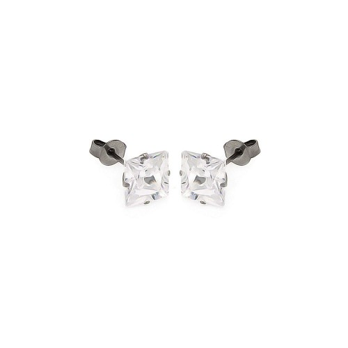 Wholesale Stainless Steel Square CZ Stone Stud Earring - SSS00001CLR SQ