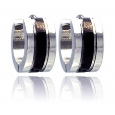Wholesale Stainless Steel Black Rhodium Plated Center Huggie Earrings - SSE00001
