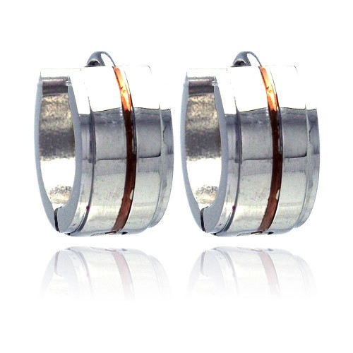 Wholesale Stainless Steel Rose Gold Plated Center Huggie Earring - SSE00002
