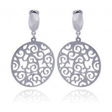 Stainless Steel Wave Outline Design Hanging Stud Earring - SSE00005