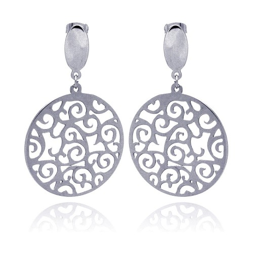 Wholesale Stainless Steel Wave Outline Design Hanging Stud Earring - SSE00005