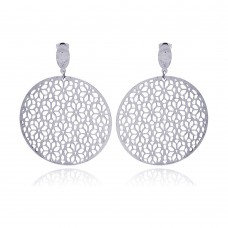Wholesale Stainless Steel Flower Outline Design Hanging Stud Earring - SSE00006