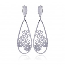 Wholesale Stainless Steel Teardrop Flower Design Hanging Stud Earring - SSE00007