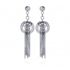 Wholesale Stainless Steel Double Open Circle Hanging Strands Stud Earring - SSE00008